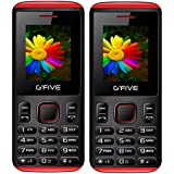 G'Five U707 Black Red+ U707 Black Red, Dual Sim Basic Mobile COMBO OF TWO, With 950mAh Battery, Selfie Camera, Auto Call Recording, Wireless FM With 1 Year Warranty