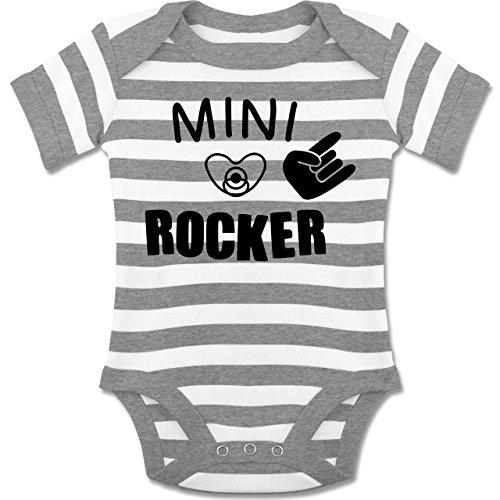 Strampler Motive - Mini Rocker - 1-3 Monate - Grau meliert/Weiß - BZ10S - gestreifter kurzarm Baby-Strampler / Body für Jungen und Mädchen (Gestreifter Mini-rock Grau)