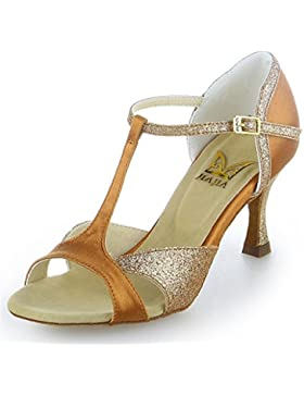 Jia Jia 2055 Damen Sandalen Ausgestelltes Heel Super-Satin mit funkelnden Glitter Latein Tanzschuhe