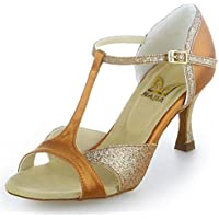 Jia Jia 2055 Latin Women's Sandals 2.7'' Flared Heel Super Satin with Sparkling Glitter Dance Shoes