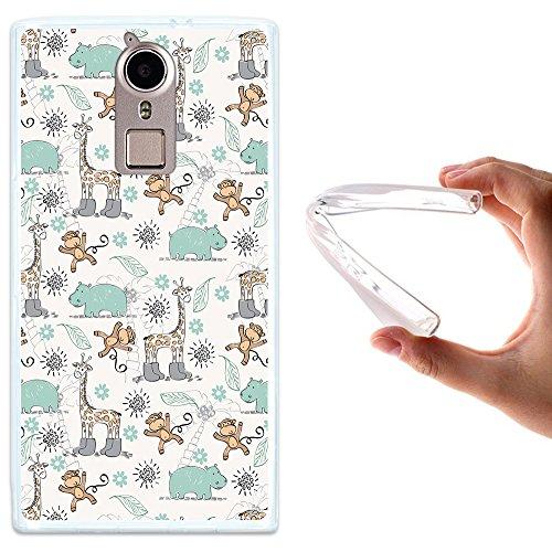 Doogee F5 Hülle, WoowCase Handyhülle Silikon für [ Doogee F5 ] Tiere Giraffe, Affe und Nashorn Handytasche Handy Cover Case Schutzhülle Flexible TPU - Transparent
