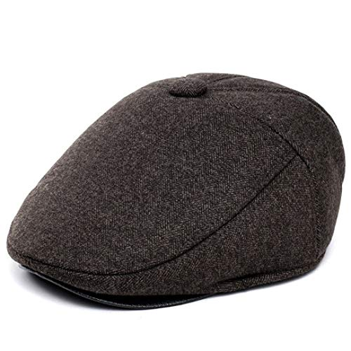 ERKEJI Flache Kappe, warme Herren Herbst Winter Hut mittleren Alters Fedora Gehörschutz (Fedora-hüte Für Männer Mittleren)