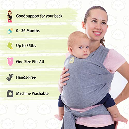 Baby Wrap Carrier by KeaBabies - All-in-1 Stretchy Baby Wraps - Baby Sling - Infant Carrier - Babys Wrap - Hands Free Babies Carrier Wraps | Great Baby Shower Gift (Classic Grey)  KeaBabies