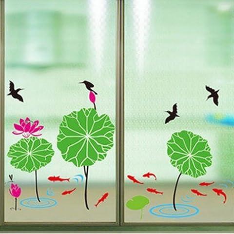 Andonger Lotus Pond Pesce Uccelli Wall Stickers PVC estraibile Creative Design sfondi Moda adesivi murali