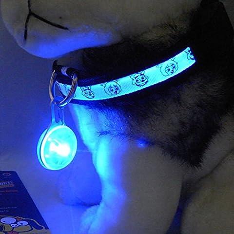 Médaille LED Lumineux Pendentif de Collier pour Animaux Chien Chat-Bleu