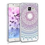 kwmobile Crystal Case Hülle für Samsung Galaxy A3 (2016) aus TPU Silikon mit Indische Sonne Design - Schutzhülle Cover klar in Blau Pink Transparent