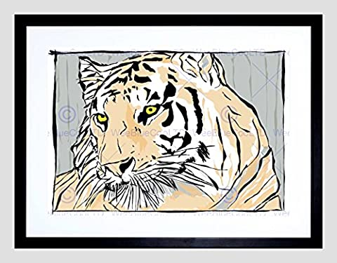 PAINTING BIG CAT TIGER STRIPES EYES FACE HEAD COOL FRAMED