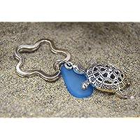 BRELOQUEANDCO - Porte-clés tortue marine, galet bleu océan, décoration sac à main, porte clé anneau fleur mer, plage HANDMADE
