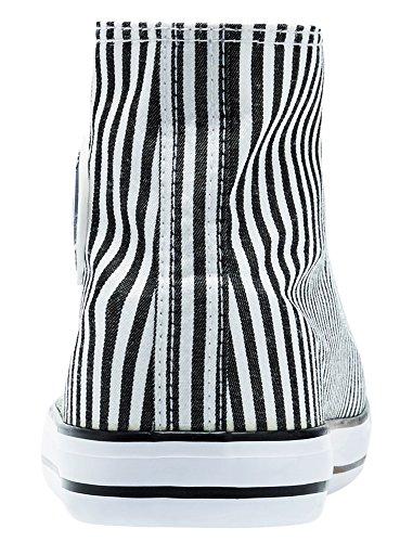 oodji Ultra Femme Baskets Montantes en Toile de Coton Blanc (1029S)