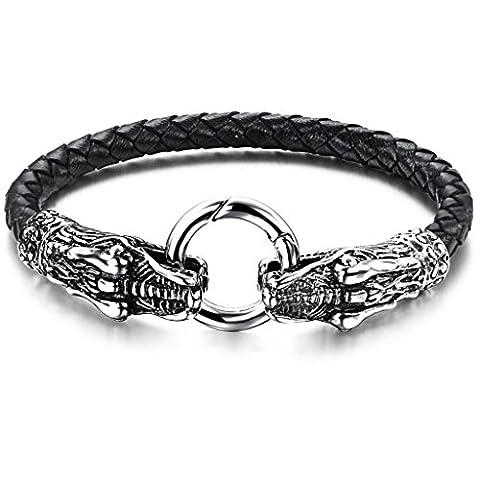 Stainless Steel Leather Tribal Silver Black Men Cuff Bangle Bracelet Aooaz Jewellery