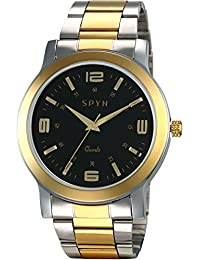 Spyn Black Dial IGP Gold Plated Luxury Men's Watch - G008-Black