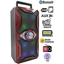 Altavoz Karaoke Bluetooth, ITK Altavoz con Karaoke cadena reproductora MP3, inalámbrico portátil con luces LED, lector USB SD, Radio FM LINE IN 3.5mm control remoto, PC MAC iPhone Android Smartphones Tablets (color rojo)