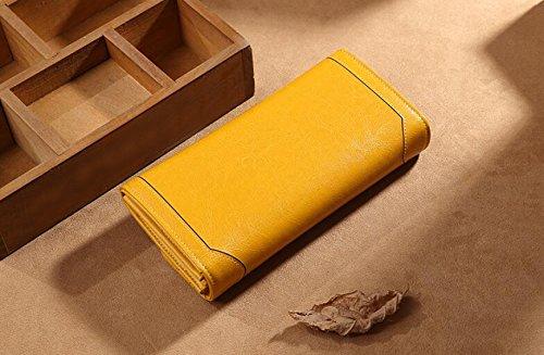 Portafoglio Lungo Femminile In Pelle Di Vacchetta Di Grande Capacità. Portafoglio Femminile In Carta Cerata Vintage Yellow