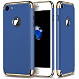 Aeetz iPhone 7 Back Covers, iPhone 7 Case, Ultra-Thin 3in1 Electroplate Metal Texture Hard Plastic Back Case Cover for Apple iPhone 7 (4.7 inch)
