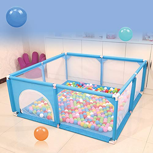 Playpens Baby Blue, Toddler Game Security Fence with Breathable Mesh and Double Zipper Door (Size : 150×150×62cm)  BSNOWF