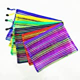 #5: Shop Buzz Pack Of 12 Transparent Zippered Nylon Mesh Multi Purpose Pouch Return Gift For all Age Groups (Assorted Colours Size 24 x 12 cm)