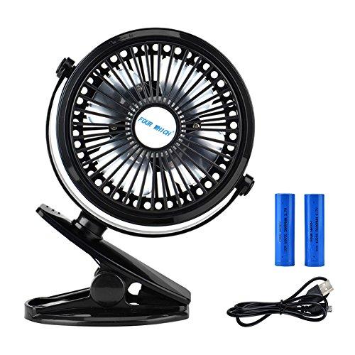 Cozyswan Mini Fan Clip Ventilator Wiederaufladbare bedienbare Ventilatoren auf Mini-Schreibtisch USB-Lüfter für Home Office Kinderwagen Baby, verstellen 360° Usb Wiederaufladbare Fan