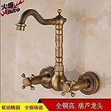 SADASD Moderne Badezimmer voll Kupfer Waschbecken Wasserhahn an der Wand montierten Mixer Mixer Doppel Waschbecken Keramik Ventileinsatz Kaltes Wasser mit G 3/8 Schlauch Tippen