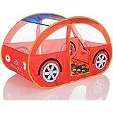 Pop Up Tienda para niños Coche roja con 100 bolas para casa y exterior plegable