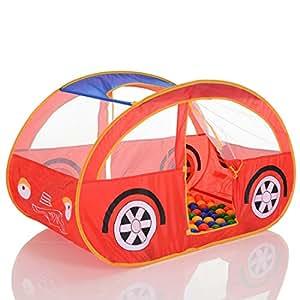 LCPKids 313 Tenda gioco per bambini pop up auto rosso con 100 palline
