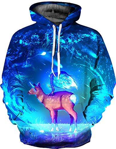 KamiraCoco Herren Kapuzenpullover 3D Druck Muster Hoodie Weihnachten Halloween Sweatshirt Pullover Mond Hirsch