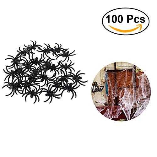 LUOEM Plastikspinnen Fake Spider Realistische Spinnen Witze Stützen für Streich Halloween Party Dekoration 100 Stk (Schwarz)