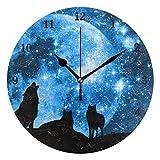 ZZKKO - Reloj de Pared con diseño de Lobo y Estrella, silencioso, Funciona con Pilas, fácil...