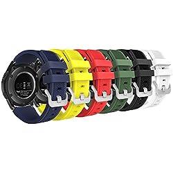 MoKo Bracelet en Silicone Souple [6-Pack] pour Samsung Galaxy Watch 46mm / Gear S3 Frontier / S3 Classic/Motorola/Moto 360 2nd Gen 46mm Smart Watch, Pas Compatible avec S2,S2 Classic,Fit2,coloré