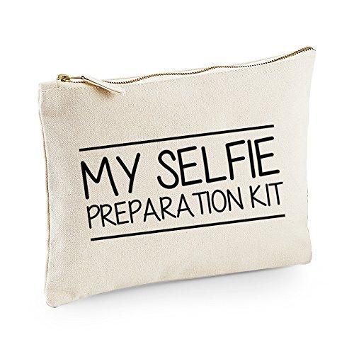 TeeIsland My Selfie Preparation Kit Make-Up Bag / Accessories Case (Large 20cm x 28cm, Cream/Natural)