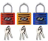 Lucchetto 3 pezzi 35 mm - Lucchetto di sicurezza resistente, con 3 chiavi per cancelli esterni scuola e casa, capannoni, armadietti, cassetta degli attrezzi, magazzino (arancione)
