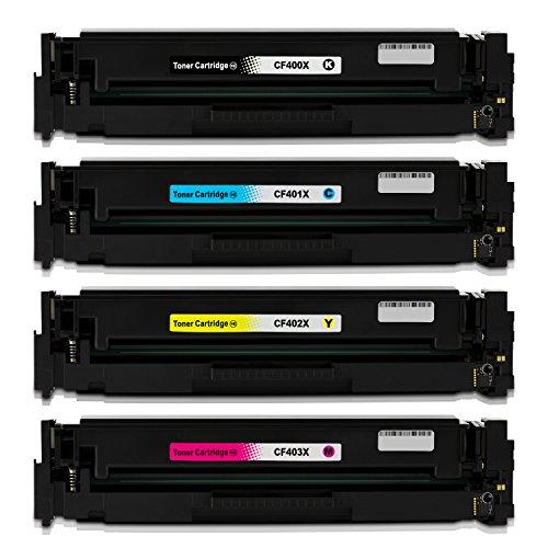 Preisvergleich Produktbild Merotoner® kompatible 4er Pack Toner / Drucker-Patronen Set als Ersatz für HP CF400X CF401X CF402X CF403X farblaser multifunktionsdrucker Toner kompatibel für LaserJet Pro MFP M252dw, LaserJet Pro MFP M250 Series, HP LaserJet Pro MFP M274n, HP LaserJet Pro MFP M277dw, LaserJet Pro MFP 277n Laser Multifunktionsdrucker, 201X, Schwarz 2.800 Seiten, Color je 2.300 Seiten