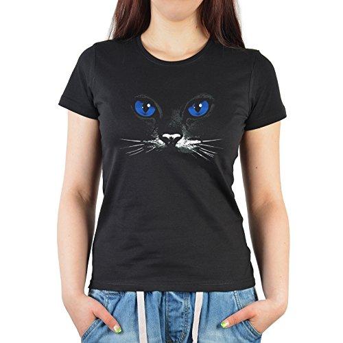 Sexy Damen T-Shirt für Katzenfreunde - Blue Eyes Black Cat - mit faszinierenden blauen Katzenaugen!