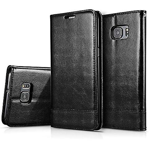 AIYIBEN serie Folio in pelle Flip corretto Custodia Flip Cover Stand per Samsung S7 Edge (Black )
