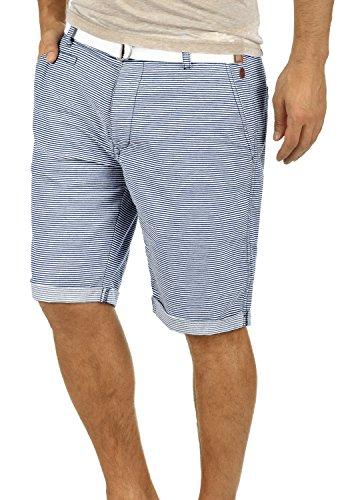 Blend Quantigo Herren Chino Shorts Bermuda Kurze Hose Mit Gürtel Und Streifen-Muster Aus 100% Baumwolle Regular Fit, Größe:XL, Farbe:Navy (70230)
