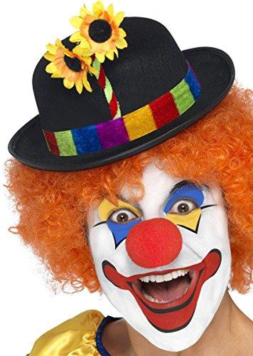 n Hut Melone Blume Schwarz-Bunt Einheitsgröße (Zirkus Figuren Kostüme Für Kinder)