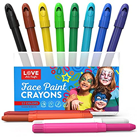 Face Paint Kit for Kids with 12 Non Toxic Color Sticks. Best Quality Body Painting Set +18 BONUS Stencils & E-book. Easy to Apply, Long Lasting, Water-Based Twist Up Crayons. Ideal gift or