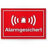 Alarmgesichert Kunststoff Schild (rot 30 x 20 cm) - Achtung/Vorsicht Alarmgesichert - Hinweis/Hinweisschild Alarm - Haus/Gebäude / Objekt