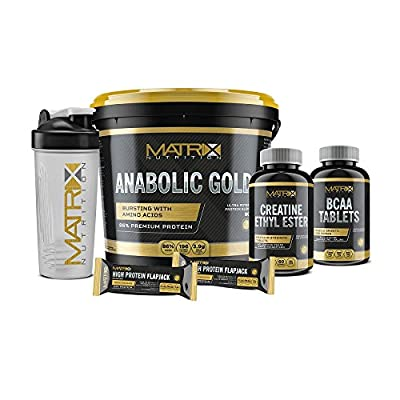 Matrix Nutrition Anabolic Gold Protein Supplement Bundle with Free Creatine Ethyl Ester & BCAA Tablets, 2 Matrix High Protein Flapjacks & Free Sports Shaker from Matrix Nutrition