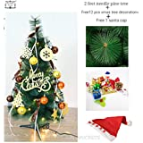 DECORATIVE BUCKETS CHRISTMAS TREE 2 Feet | Pine Tree With Stand With Free Hand Made Assorted Christmas Decorations WITH FREE LED SANTA CAP |NEEDLE PINE CHRISTMAS TREE|XMAS TREE|XMAS DECORATIONS| CHRISTMAS TREE DECORATIONS