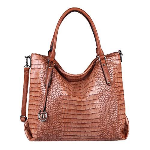 Damen Tasche Kroko-Prägung Shopper Din-A4 Schultertasche Handtasche Umhängetasche Henkeltasche Tote Bag Beuteltasche Leder Optik Braun