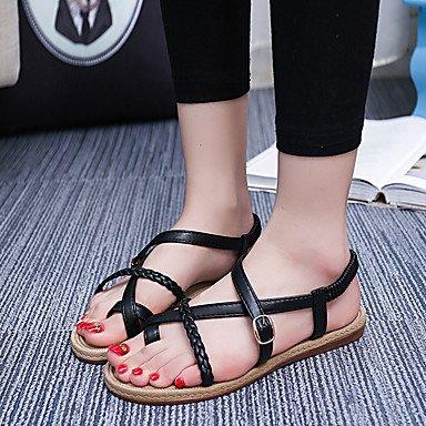 Zormey Damen Sandalen Komfort Im Sommer Pu Casual Flachem Absatz Schnalle Schwarz Weiss Andere US7.5 / EU38 / UK5.5 / CN38