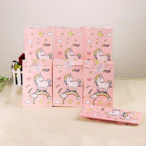 Aytai 24pcs Einhorn Papier Geschenktüten mit Thank You Aufkleber, Einhorn Geburtstag Party Favors Taschen rosa süße Taschen für Mädchen Baby Shower Kids Party Supplies (Unicron Spielzeug)