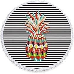 Stillshine toalla de playa redonda con borla (tamaño grande, 150 cm) Microfibra Tapiz de Pared Indian Mandala Manta de Playa Manta Multi-funcional para Yoga, Gimnasio, Baño, Picnic, Decoración, Viaje (Estilo 6- Piña)