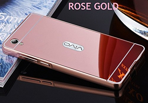 G M Brothers Luxury Mirror Aluminium Metal Bumper Back Cover Case For VIVO Y51/Y51L (Rose Gold)