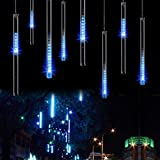 OMGAI Meteor Shower Rain Lights - Waterproof String for Christmas New Year Party Decoration Tree 30cm 8 Tubes 144 LED, Blue (BS certification plug)