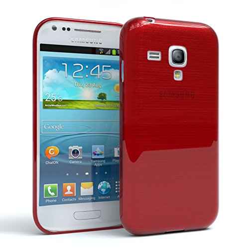 Samsung Galaxy S3 mini Schutzhülle Silikon, gebürstet I von EAZY CASE I Slimcover in Edelstahl Optik, Handyhülle, TPU Hülle / Soft Case, Backcover, Silikonhülle Brushed, Rot