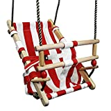FATMOOSE Babyschaukel BeachCruiser Babysitz aus Stoff Schaukelsitz mit Sicherheitsgurt, rot