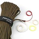 PSKOOK 550 Paracord Überleben Cord Paracord Fire Cord Survival Feuerstarter Cord Gewachst Jute Zunder +Angelschnur 7(100% Nylon Seil)+4 (Zunder, PE, Nylon, Baumwollschnur) - 30M (Khaki)