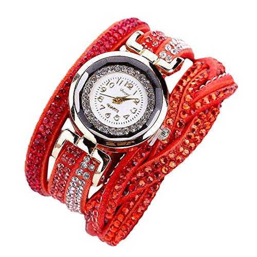 Duoya ® Femmes de luxe Bracelet en cristal d'or Quartz bracelet strass Horloge Montres cadeaux (Orange)