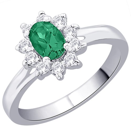Peora Sterling Silver Oval Green CZ Flower Royal Engagement Style Kate Middleton Ring for Women